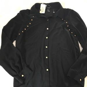 black button up with stud details